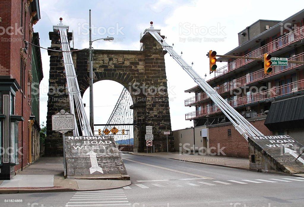 Old Suspension Bridge stock photo