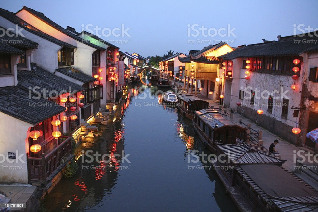 Old Suzhou canal, China, illuminated with lanterns stock photo