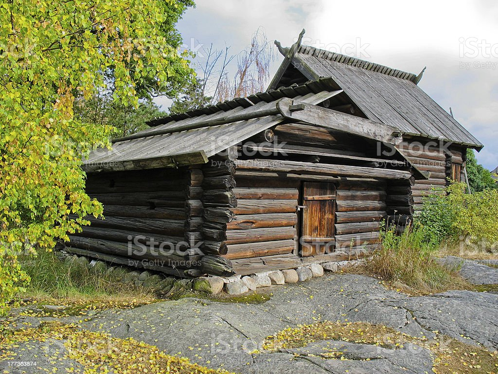 Old swedish ecological cabin royalty-free stock photo