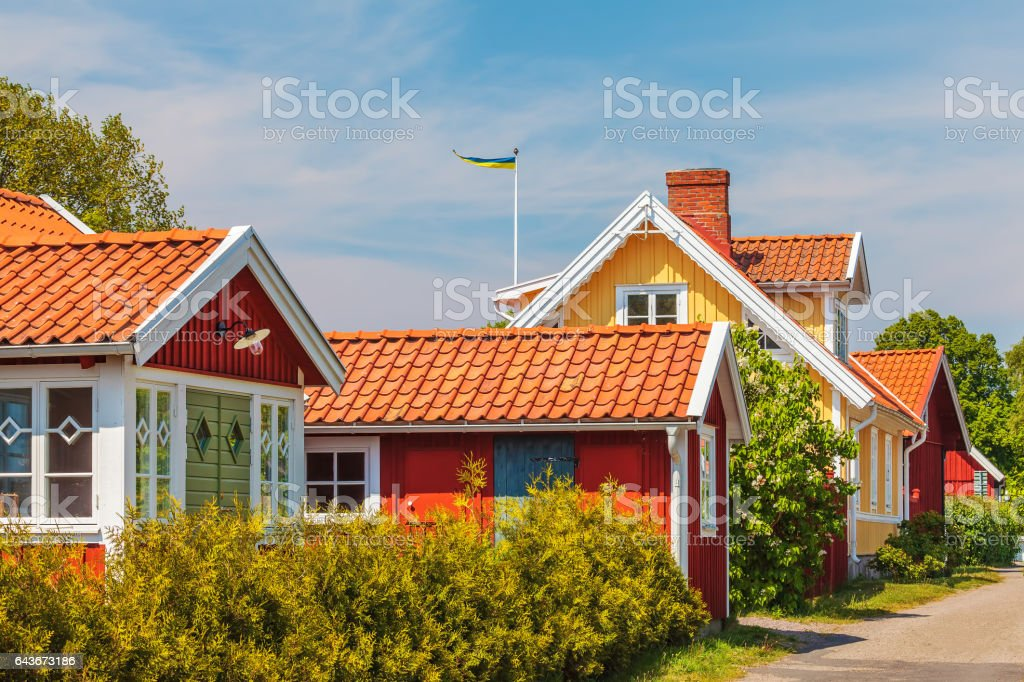 Old Swedish houses in Kristianopel stock photo