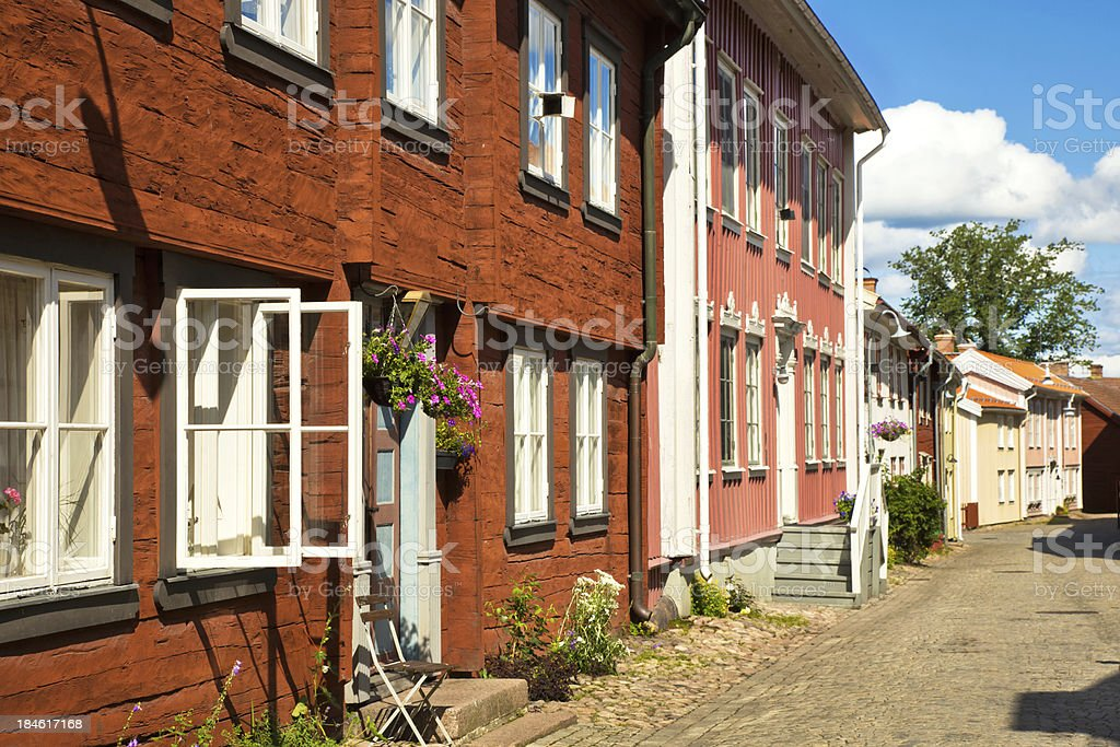 old swedish wooden houses stock photo