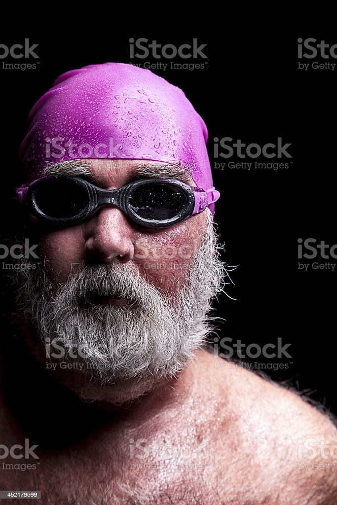 Old Swimmer In Cap And Goggles royalty-free stock photo