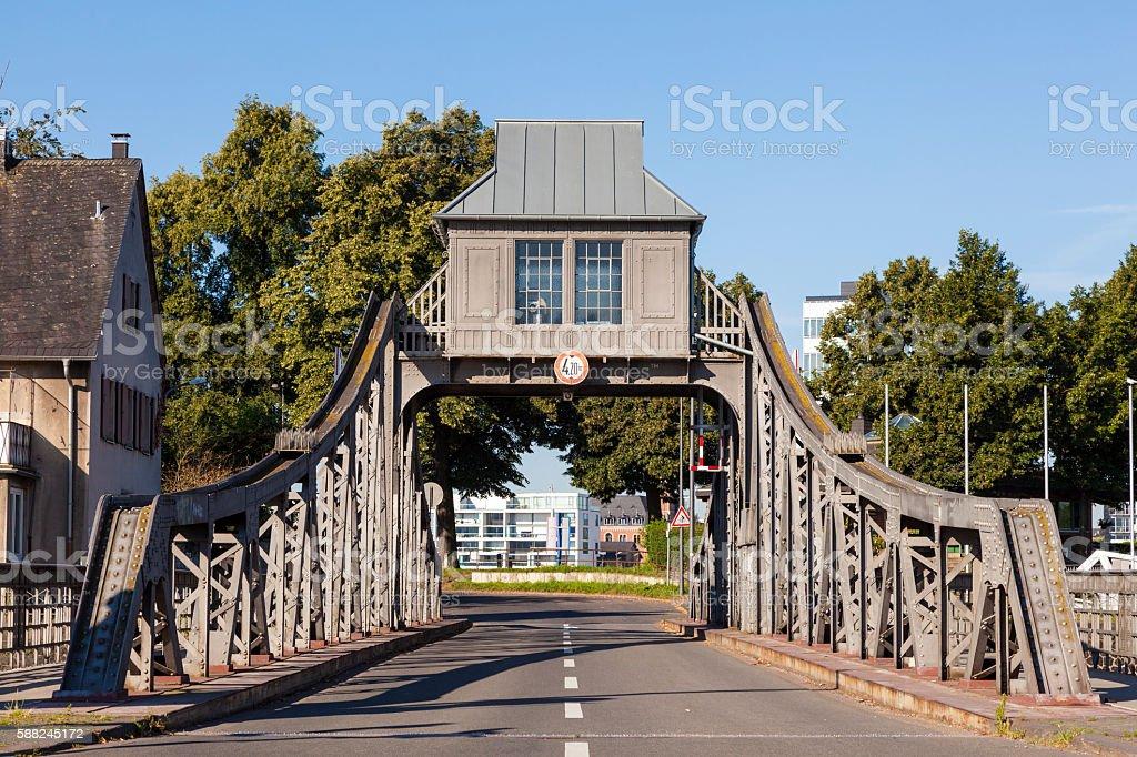 Old Swing Bridge in Cologne, Germany stock photo