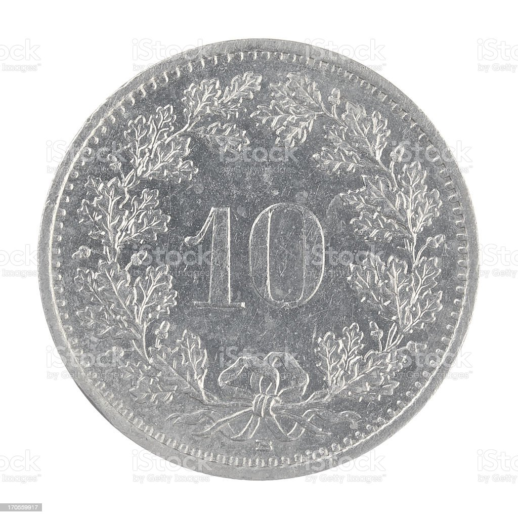 old Swiss franc 10 Rappen coin isolated on white background royalty-free stock photo