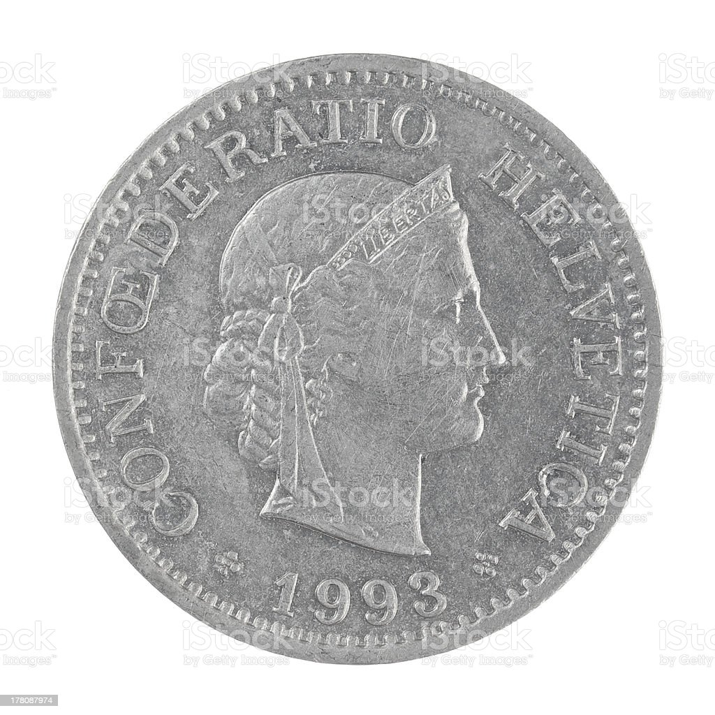 old Swiss franc 10 Rappen coin isolated on white background stock photo