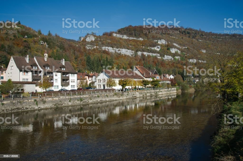 Old Swiss town Saint-Ursanne with the river Doubs stock photo