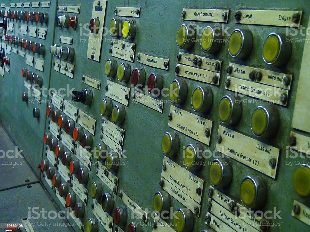 Old switch board in abandoned factory stock photo