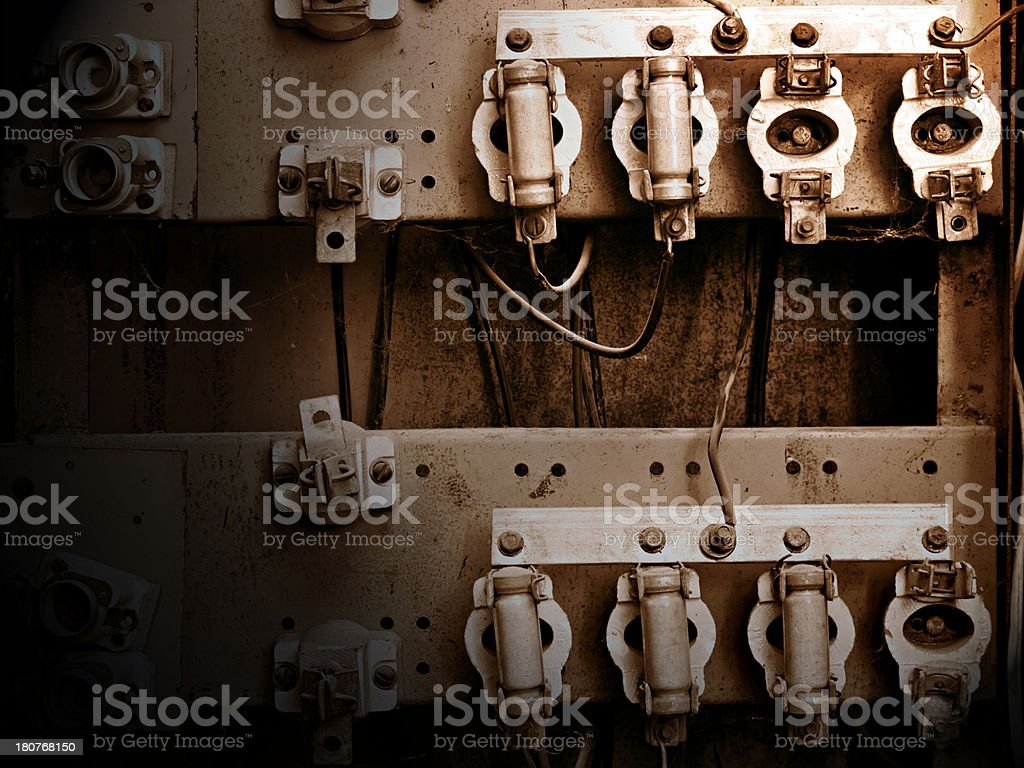 old switchboard with fuses royalty-free stock photo