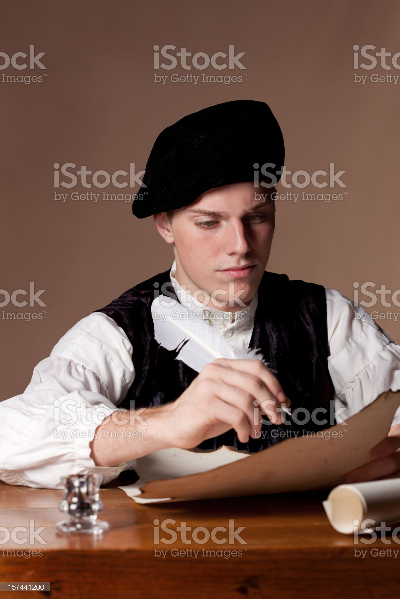 Old Sytle Gentelman Writing royalty-free stock photo