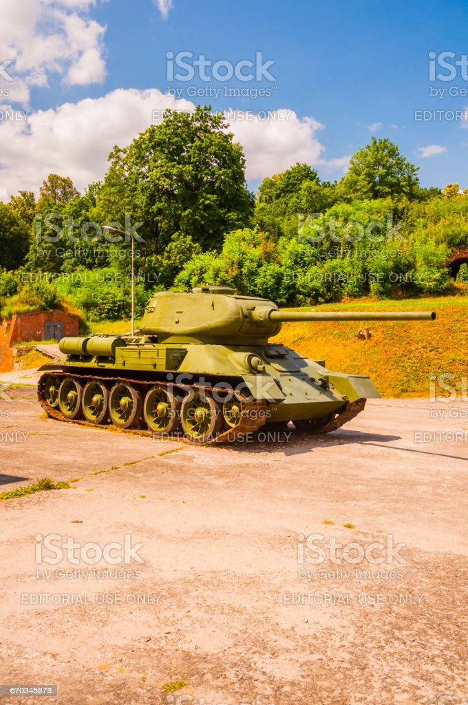 Old T-34/85 was a Soviet medium tank from World War II.. stock photo