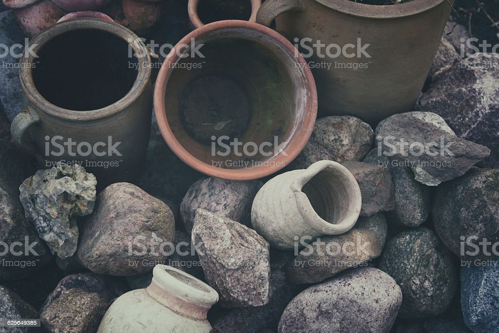 old tagine pots in vintagestyle stock photo