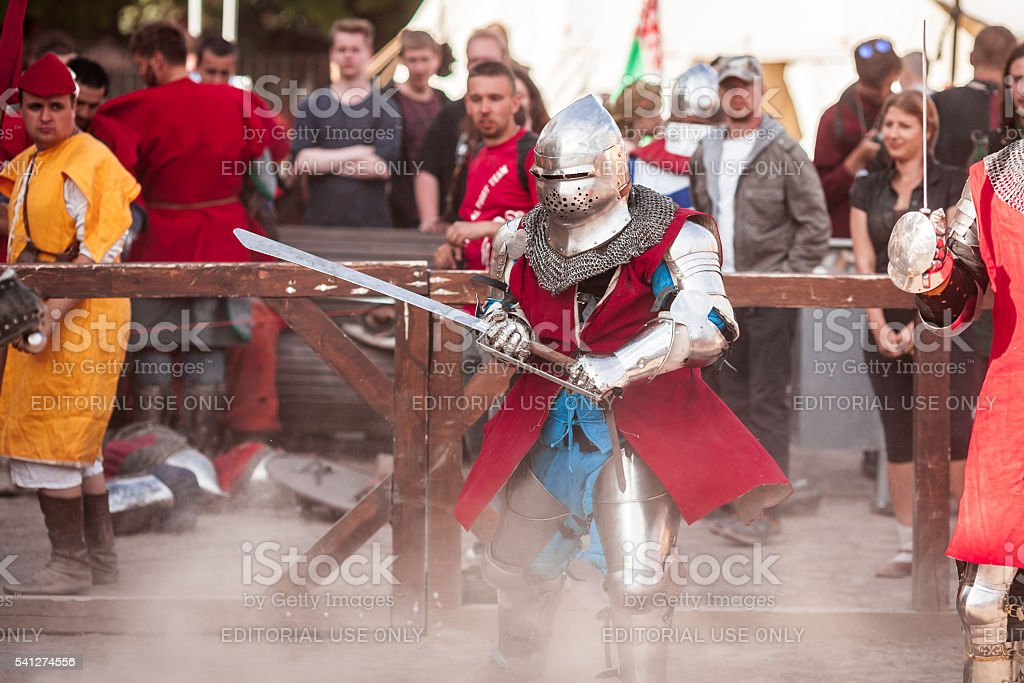 'Old Tallinn Cup' International historical sword fighting tournament stock photo