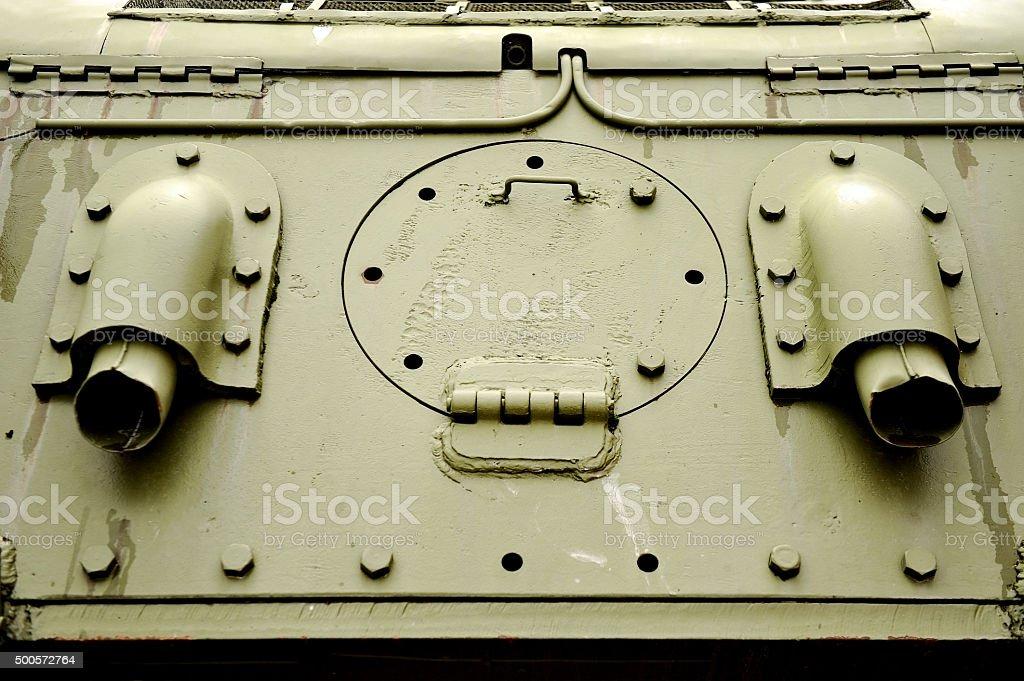 Old tank door detail stock photo
