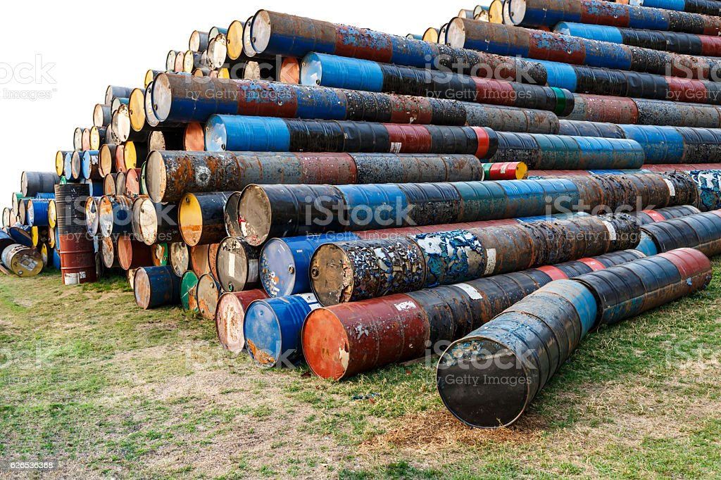 old tanks containing hazardous chemicals isolated stock photo