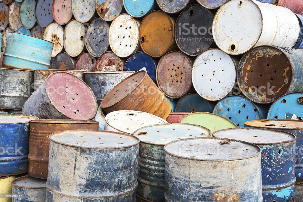 old tanks containing hazardous chemicals royalty-free stock photo