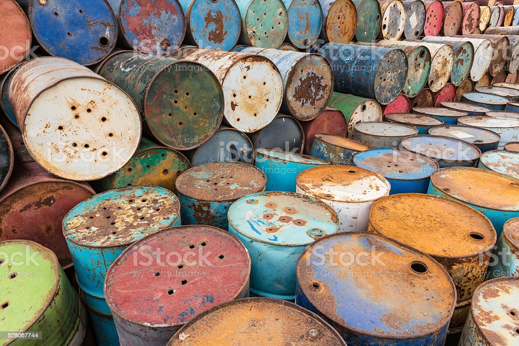 old tanks containing hazardous chemicals stock photo