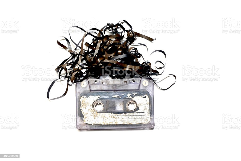 old tape cassette on white background stock photo