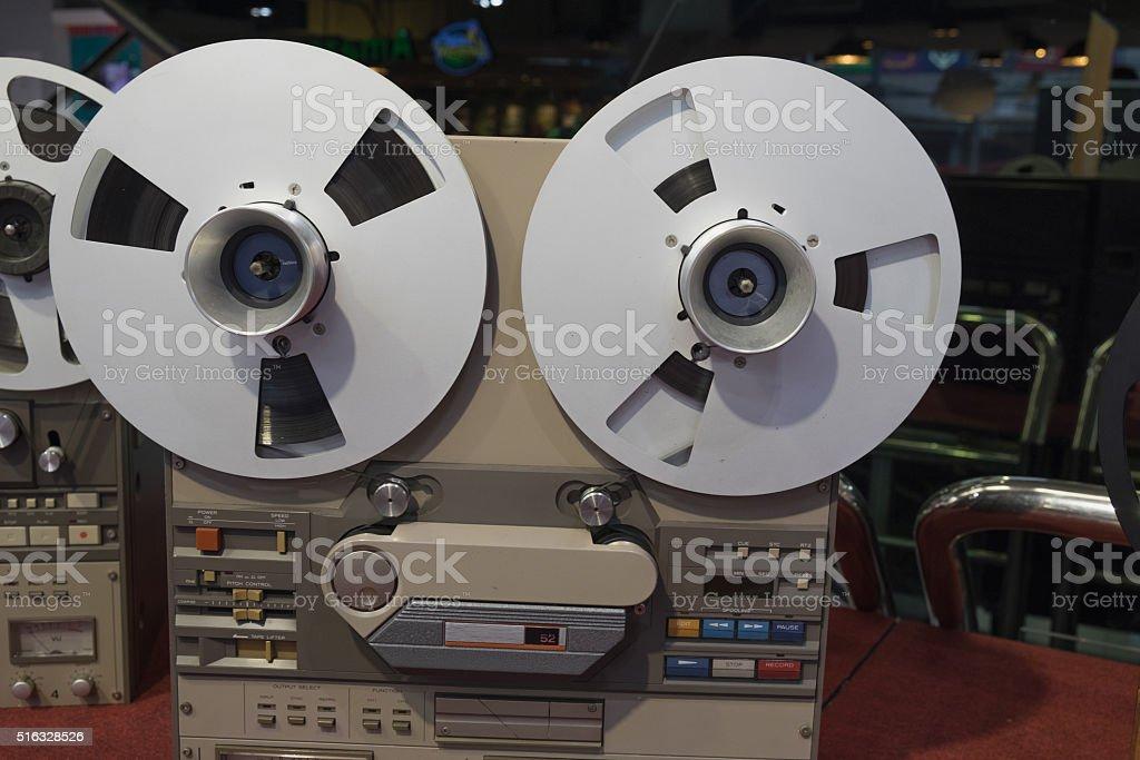 Old tape cassette recorder stock photo