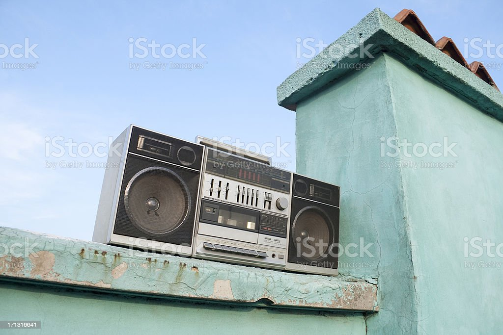 Old tape recorder on the roof stock photo