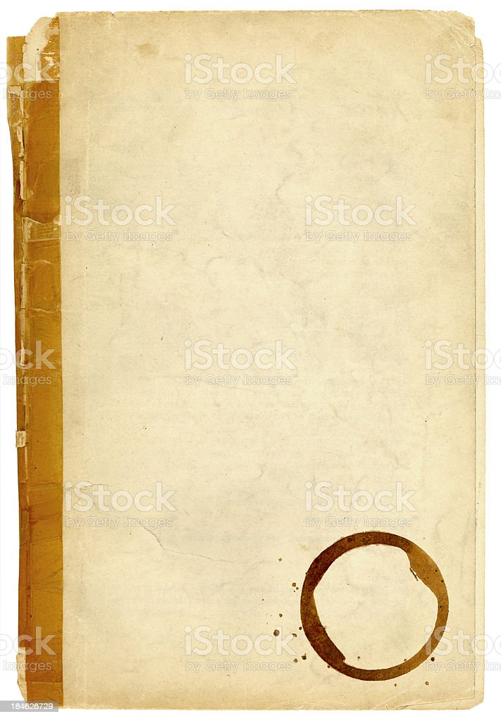 Old taped up paper with coffee cup stain royalty-free stock photo