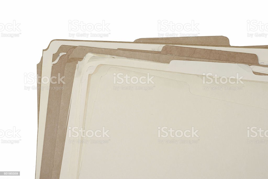 Old Tattered and Ragged Manila File Folders with Clipping Path stock photo