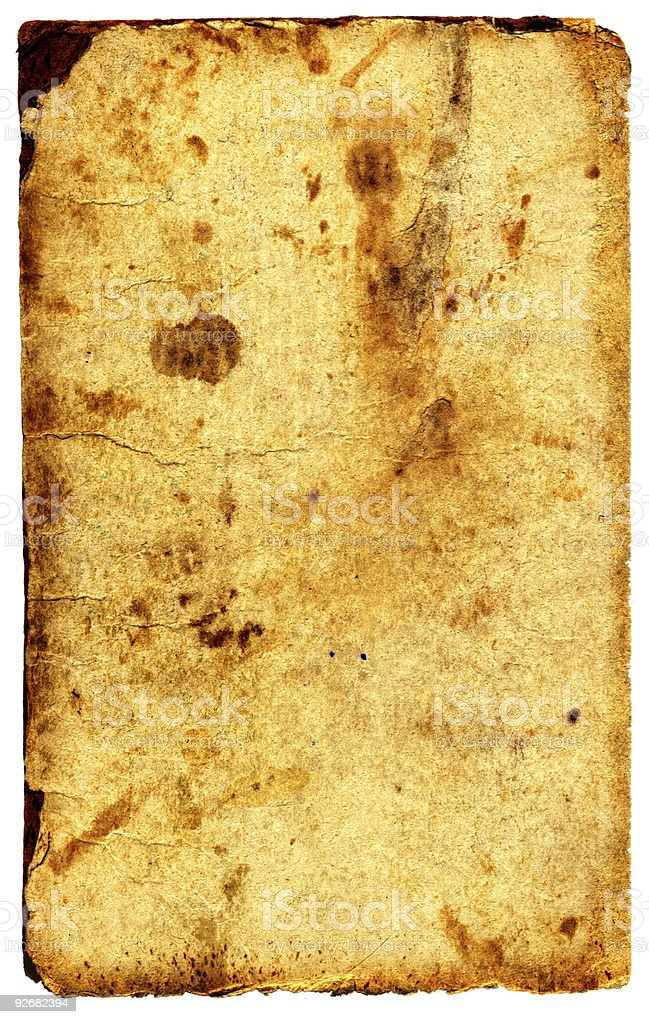 Old tatteredtextured paper. Over whitewhite isolate royalty-free stock photo