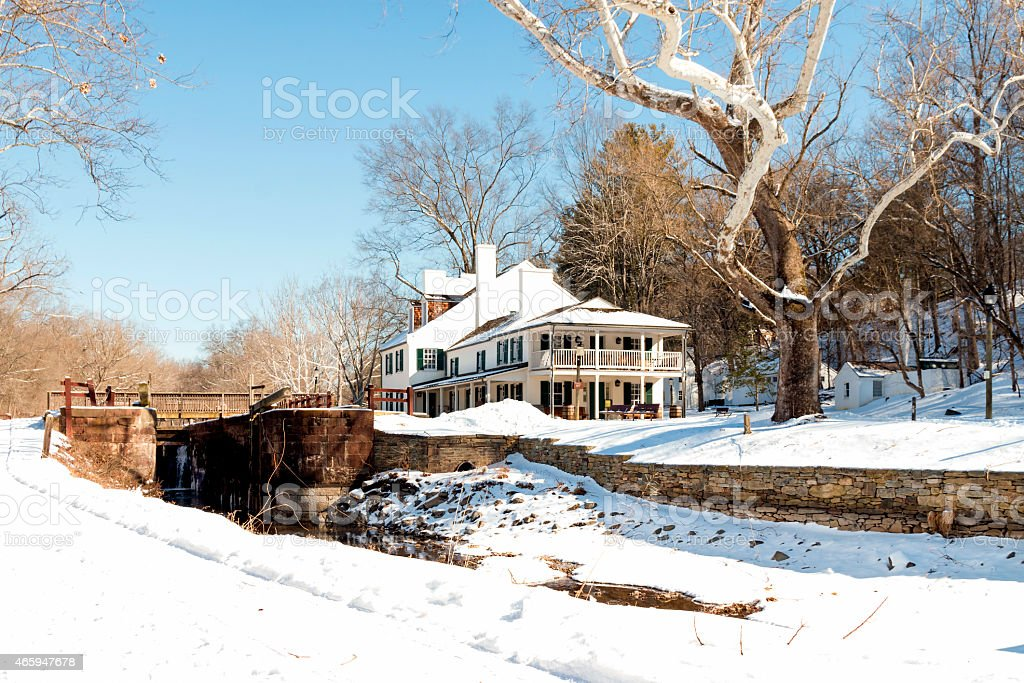 Old Tavern at Great Falls in Potomac, Maryland stock photo