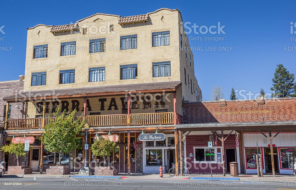 Old tavern in main street Truckee, California stock photo