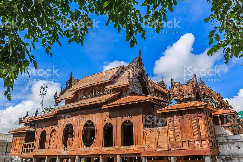 Old Teak Wood Shwe Yan Pyay Monastery stock photo
