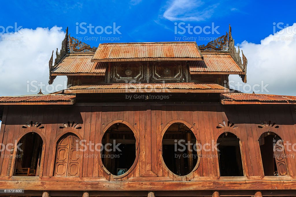 Old Teak Wood Shwe Yan Pyay Monastery stock photo