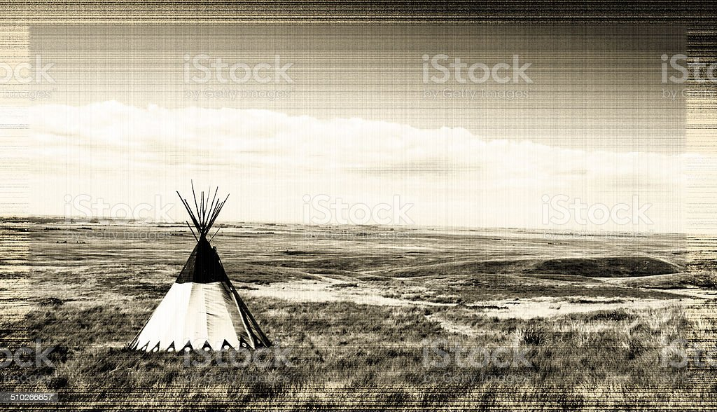 Old Teepee and Grasslands stock photo