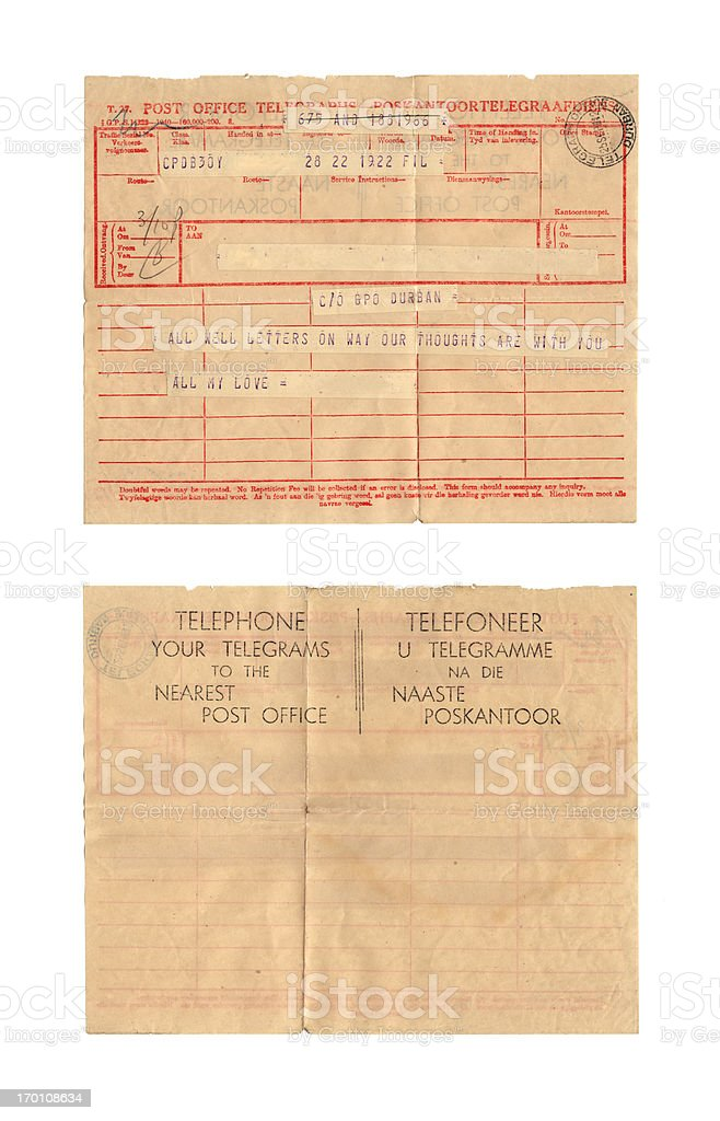 Old telegram stock photo