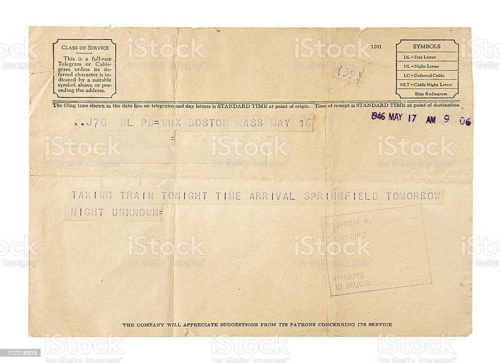Old Telegram royalty-free stock photo