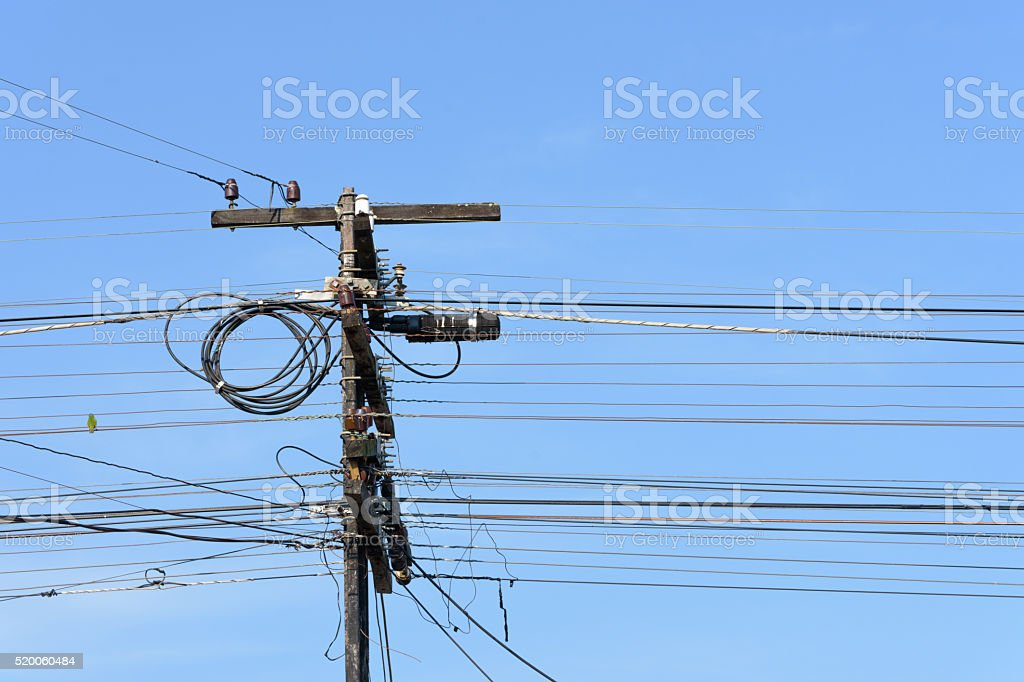 Old telegraph pole of railway royalty-free stock photo
