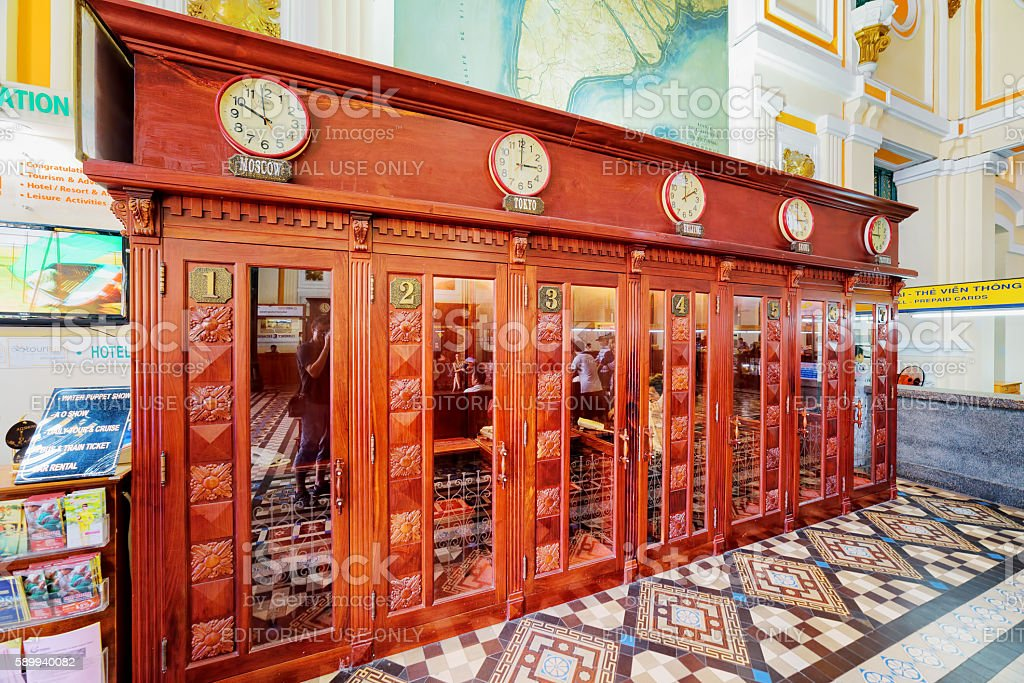 Old telephone booths at Saigon Central Post Office, Vietnam stock photo