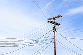Old Telephone Pole with Many Lines