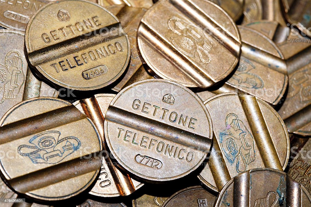 Old Telephone Tokens royalty-free stock photo