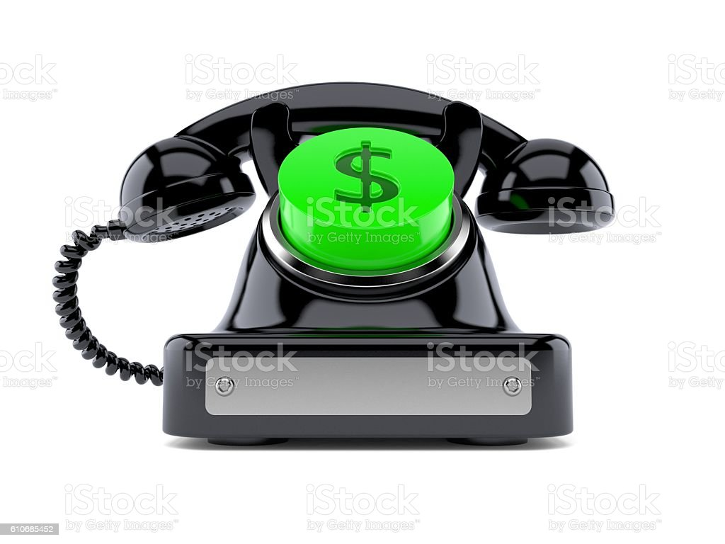 Old telephone with dollar button stock photo