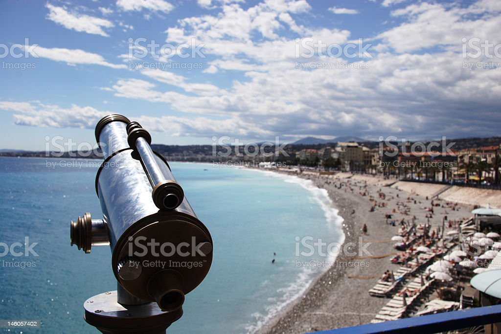 Old telescope overlooking Nice royalty-free stock photo