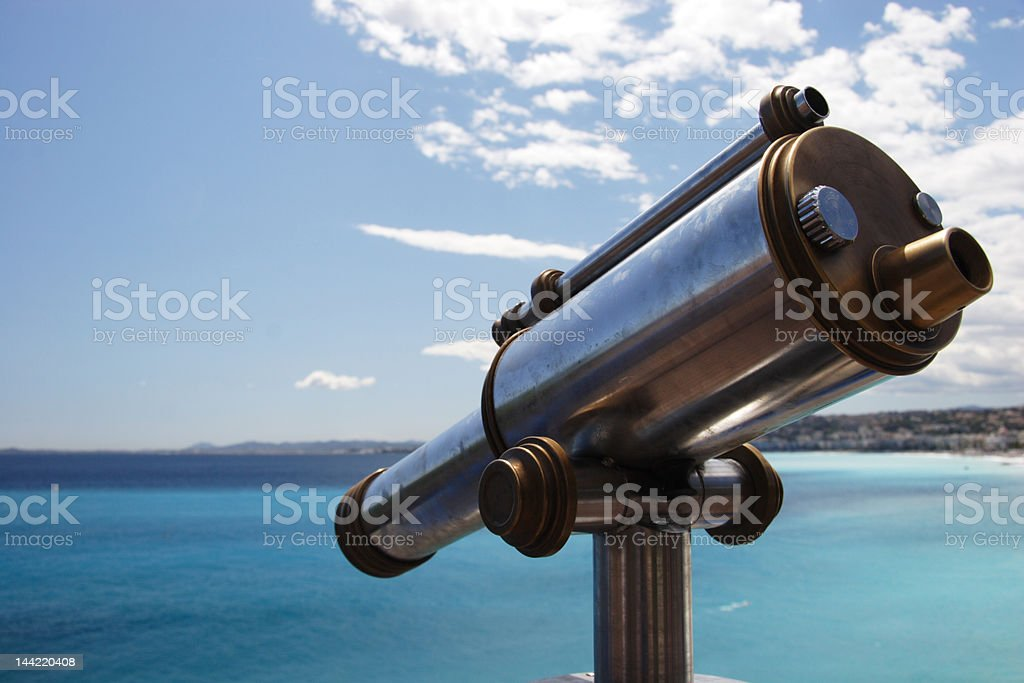 Old telescope overlooking the Med, Nice stock photo