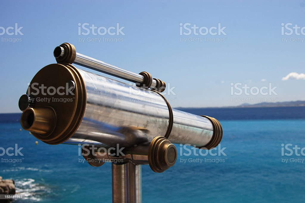 Old telescope overlooking the Med stock photo