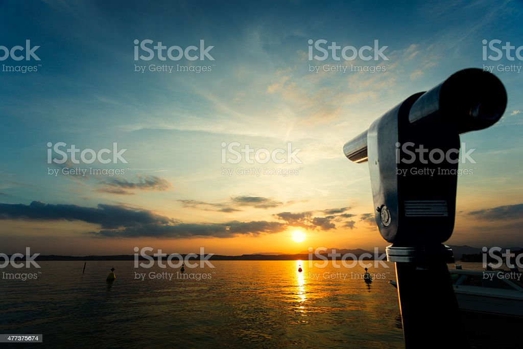 Old telescope stock photo