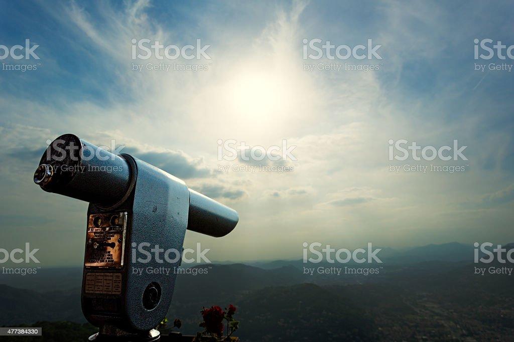 Old telescope stock photo