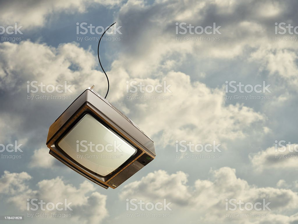 Old Television Falling From Sky royalty-free stock photo