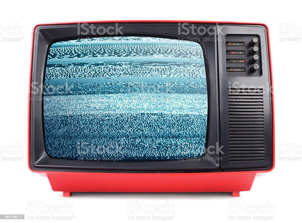 Old Television in 80's Style with Signal Noise stock photo