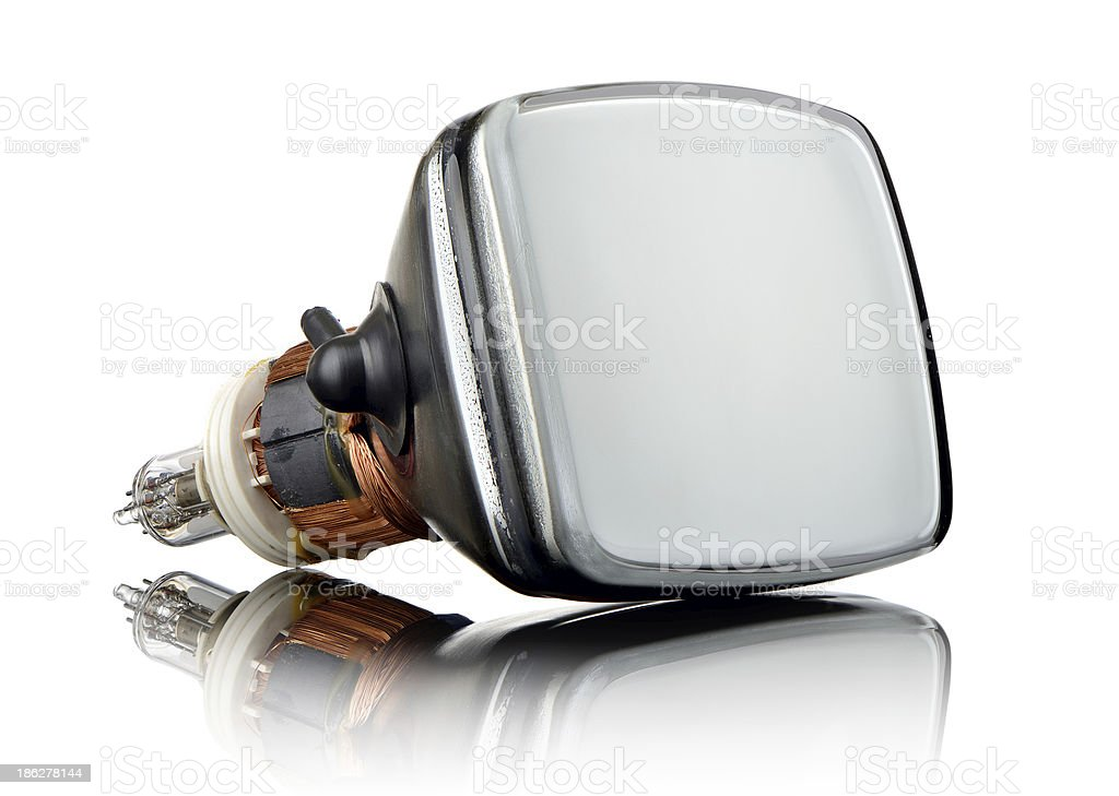 Old television tube on glass, white background stock photo