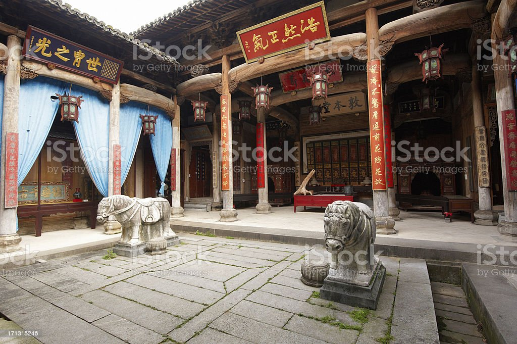 Old Temple in Hongcun town stock photo
