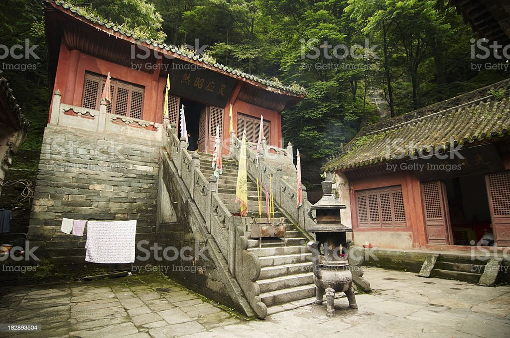 Old Temple in Wudangshan stock photo