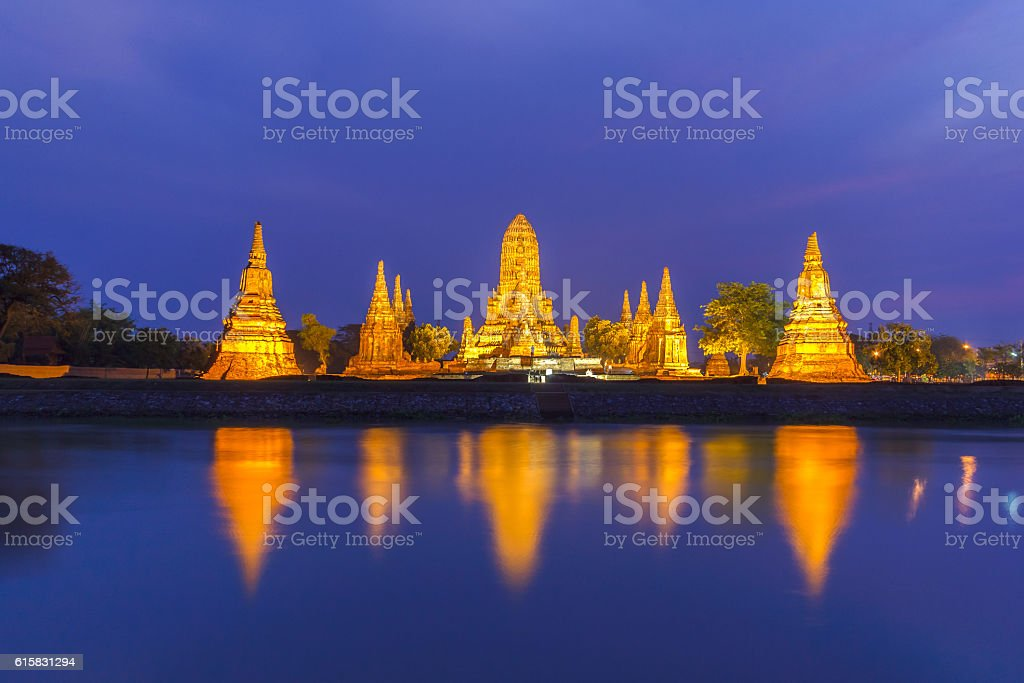 Old Temple wat Chaiwatthanaram of Ayutthaya Province stock photo