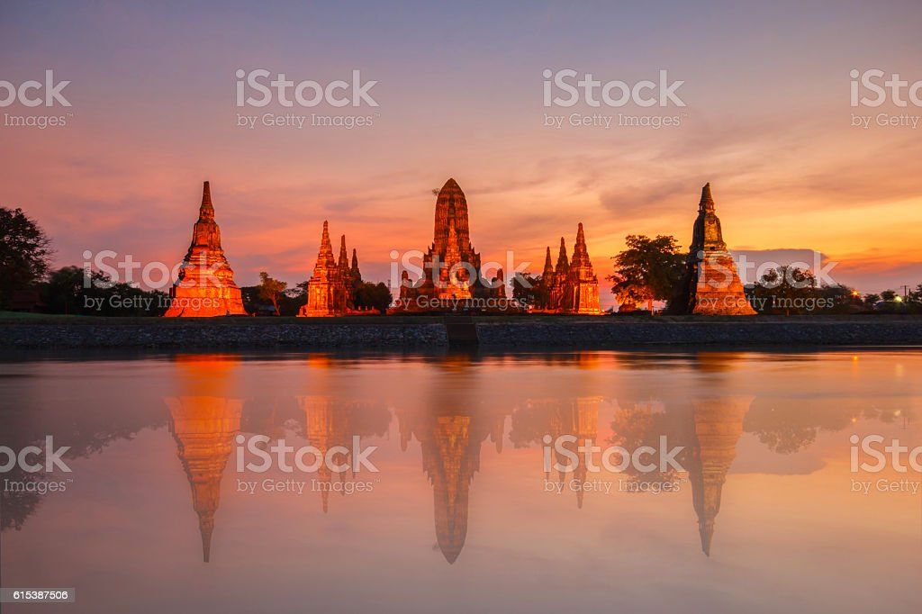 Old Temple wat Chaiwatthanaram stock photo